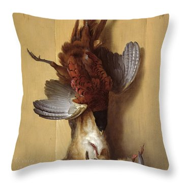 Still Life With A Hare, A Pheasant And A Red Partridge Throw Pillow by Jean-Baptiste Oudry
