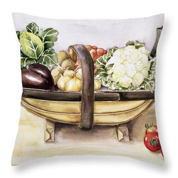 Still Life With A Trug Of Vegetables Throw Pillow by Alison Cooper