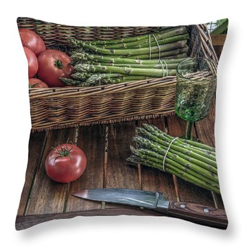 Throw Pillow featuring the photograph Still Life With Asparagus And Tomatoes by Julis Simo