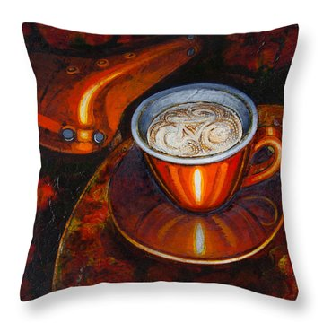 Throw Pillow featuring the painting Still Life With Bicycle Saddle by Mark Howard Jones