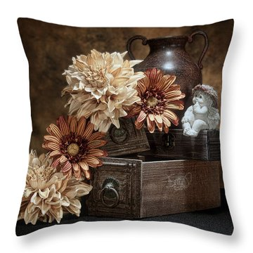 Still Life With Cherub Throw Pillow
