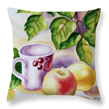 Still Life With Cup And Fruits Throw Pillow