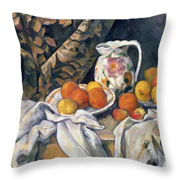 Still Life With Drapery Throw Pillow by Paul Cezanne