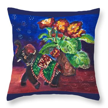 Still Life With Elephant Figure And Prrimulas Throw Pillow