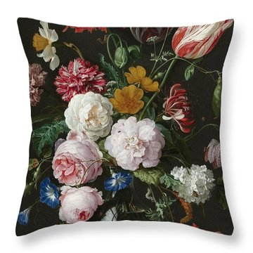 Still Life With Fowers In Glass Vase Throw Pillow
