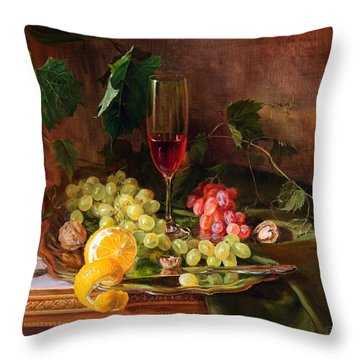 Still Life With Grapes And Grapevine Throw Pillow