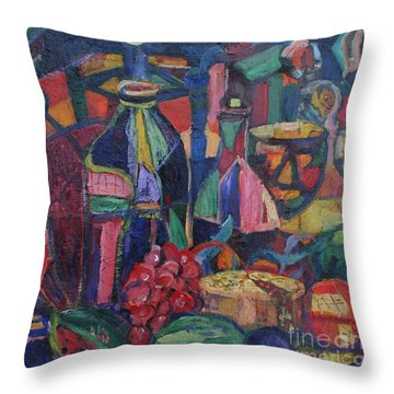 Still Life With Grapes Throw Pillow by Avonelle Kelsey