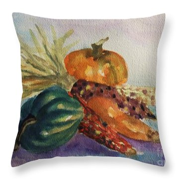 Throw Pillow featuring the painting Still Life With Indian Corn by Ellen Levinson