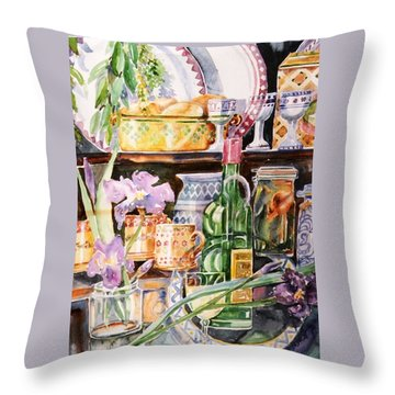 Throw Pillow featuring the painting Still Life With Irises by Trudi Doyle