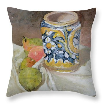 Still Life With Italian Earthenware Jar Throw Pillow by Paul Cezanne