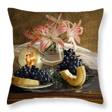 Still Life With Lily Flowers And Melon Throw Pillow by Vitaliy Gladkiy