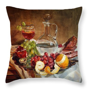 Still Life With Meat And Wine Throw Pillow