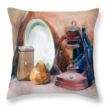 Watercolor Still Life With Rustic, Old Miners Lamp Throw Pillow