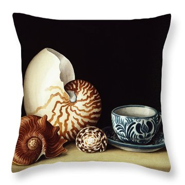 Still Life With Nautilus Throw Pillow by Jenny Barron