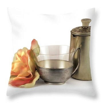 Still Life With Old Cup Rose And Coffe Pot Throw Pillow