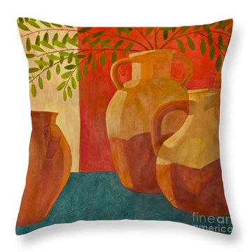 Still Life With Olive Branches I Throw Pillow
