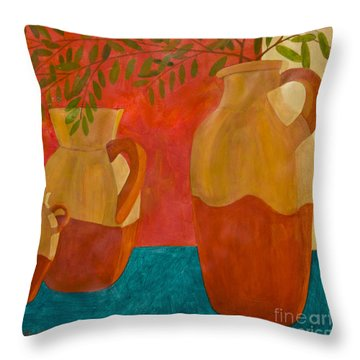 Still Life With Olive Branches II Throw Pillow