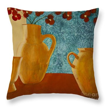 Still Life With Orchids I Throw Pillow