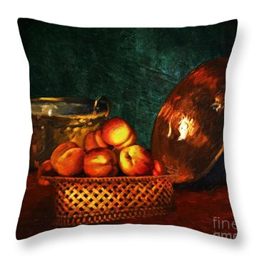 Throw Pillow featuring the digital art Still Life With Peaches And Copper Bowl by Lianne Schneider