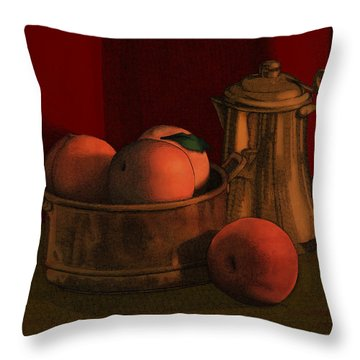 Throw Pillow featuring the drawing Still Life With Peaches by Meg Shearer