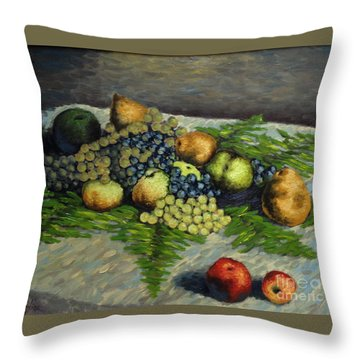Still Life With Pears And Grapes Throw Pillow