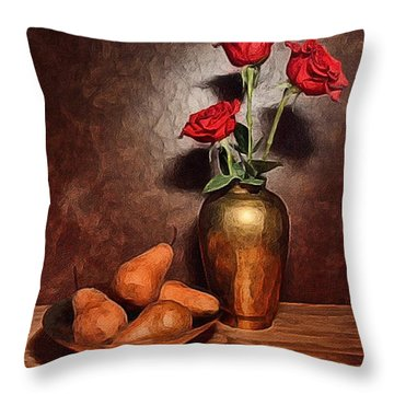 Still Life With Pears And Roses Throw Pillow