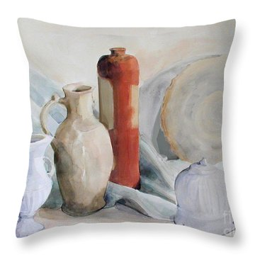 Watercolor Still Life With Pottery And Stone Throw Pillow