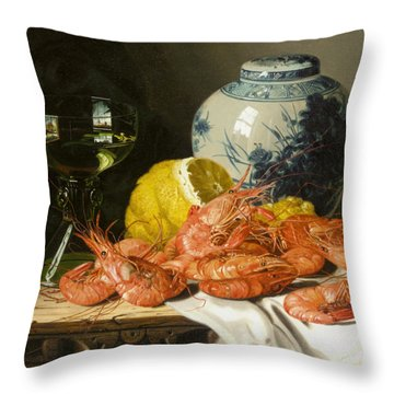 Still Life With Prawns And Lemon Throw Pillow by Edward Ladell
