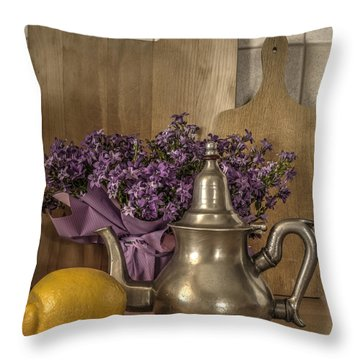 Throw Pillow featuring the photograph Still Life With Purple Flowers And Citron by Julis Simo