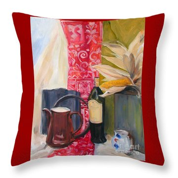 Still Life With Red Cloth And Pottery Throw Pillow by Greta Corens