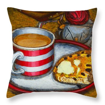 Throw Pillow featuring the painting Still Life With Red Touring Bike by Mark Howard Jones