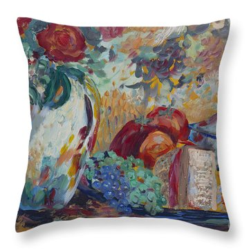 Still Life With Roses Throw Pillow by Avonelle Kelsey
