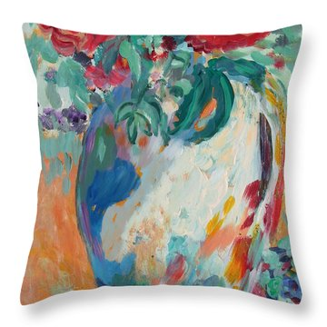 Throw Pillow featuring the painting Still Life With Roses Partial View by Avonelle Kelsey