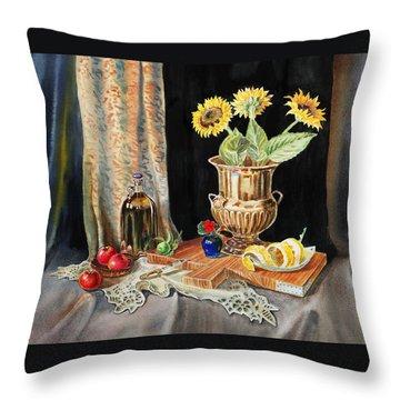 Still Life With Sunflowers Lemon Apples And Geranium  Throw Pillow by Irina Sztukowski