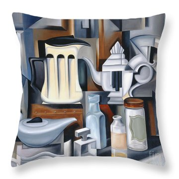 Still Life With Teapots Throw Pillow by Catherine Abel