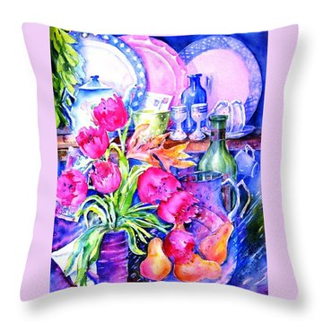 Throw Pillow featuring the painting Still Life With Tulips  by Trudi Doyle
