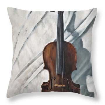 Still Life With Violin Throw Pillow by John Lautermilch