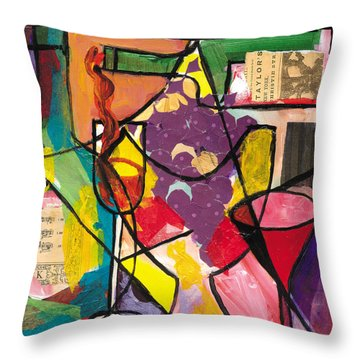 Still Life With Wine And Fruit B Throw Pillow