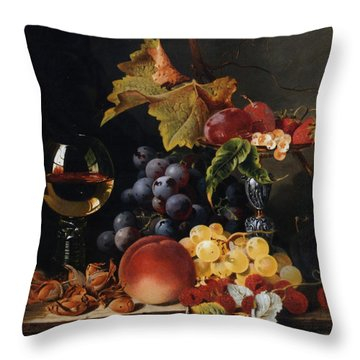 Still Life With Wine Glass And Silver Tazz Throw Pillow by Edward Ladell