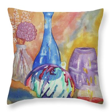 Throw Pillow featuring the painting Still Life With Witching Ball by Ellen Levinson