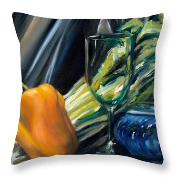 Still Life With Yellow Pepper Bok Choy Glass And Dish Throw Pillow by Donna Tuten