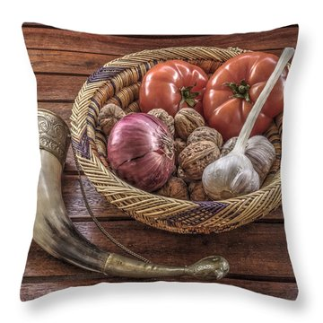 Throw Pillow featuring the photograph Still Life With A Georgian Horn by Julis Simo