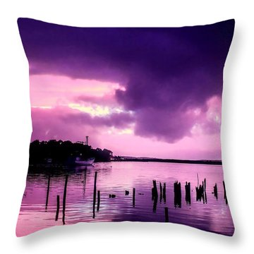 Throw Pillow featuring the photograph Still Water Dusk by Wallaroo Images