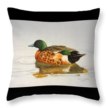 Still Waters - Chestnut Teal Throw Pillow by Frances McMahon