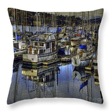 Throw Pillow featuring the photograph Still Water Masts by Jean OKeeffe Macro Abundance Art