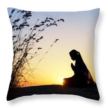 Stillness Of Prayer Throw Pillow