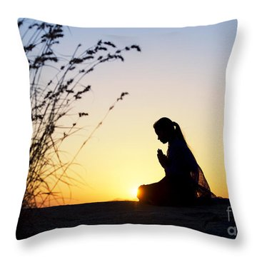 Stillness Of Prayer Throw Pillow