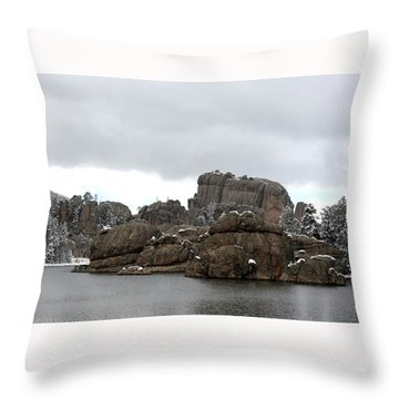 Sylvan Lake In October Throw Pillow by Clarice  Lakota