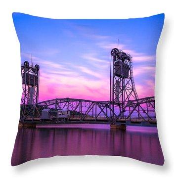 Throw Pillow featuring the photograph Stillwater Lift Bridge by Adam Mateo Fierro