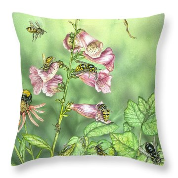 Stinging Insects In Garden Scene Throw Pillow